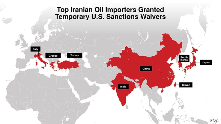 Top Iranian tomp importers granted temporary US sanctions waivers.