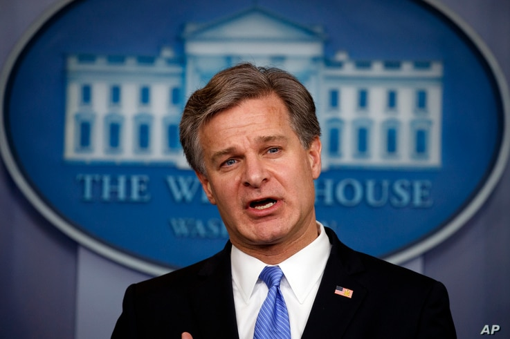 FBI Director Christopher Wray speaks during the daily press briefing at the White House, Aug. 2, 2018, in Washington.