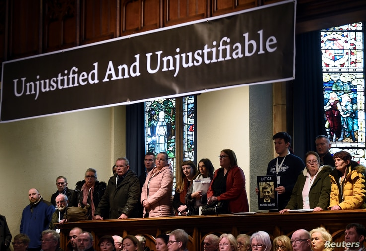 Families of the victims give a news conference after the announcement of the decision whether to charge soldiers involved in the Bloody Sunday events, in Londonderry, Northern Ireland, March 14, 2019.