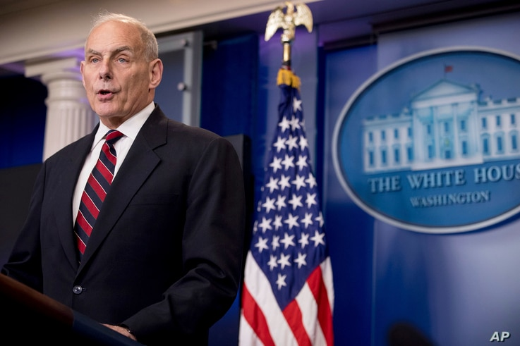 FILE - In this May 2, 2017, photo, Homeland Security Secretary John Kelly speaks at the White House in Washington.
