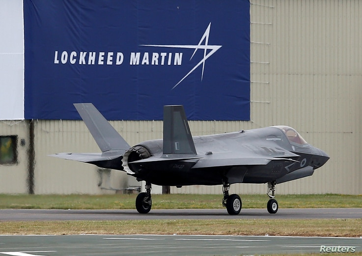 A RAF Lockheed Martin F-35B fighter jet taxis along a runway after landing at the Royal International Air Tattoo at Fairford, Britain, July 8, 2016.