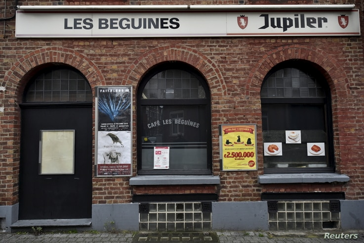 A view shows the bar Les Beguines, in Brussels, Belgium, Nov. 16, 2015. The Brussels bar that documents show was run by the French Abdeslam brothers.