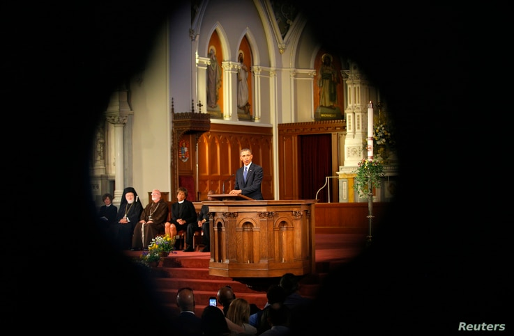 U.S. President Barack Obama speaks at an interfaith memorial service for the victims of the bombing at the Boston Marathon at the Cathedral of the Holy Cross in Boston, Massachusetts, April 18, 2013. Two explosions hit the Boston Marathon as runners ...
