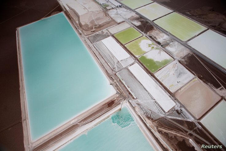 An aerial view of the brine pools and processing areas of the Rockwood lithium plant on the Atacama salt flats, the largest lithium deposit currently in production, in the Atacama desert of northern Chile, Jan. 10, 2013.