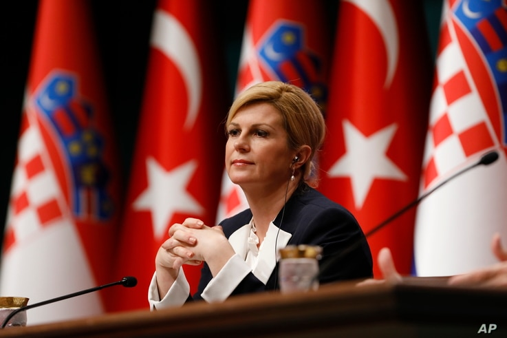 FILE - Croatia's President Kolinda Grabar-Kitarovic attends a news conference in Ankara, Turkey, Jan. 16, 2019.