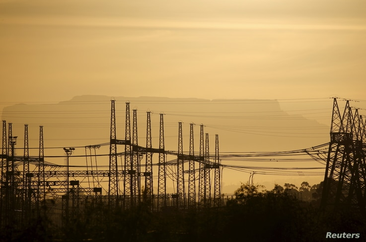 Wires carry electricity from a South African nuclear plant near Cape Town, Nov. 28, 2015.