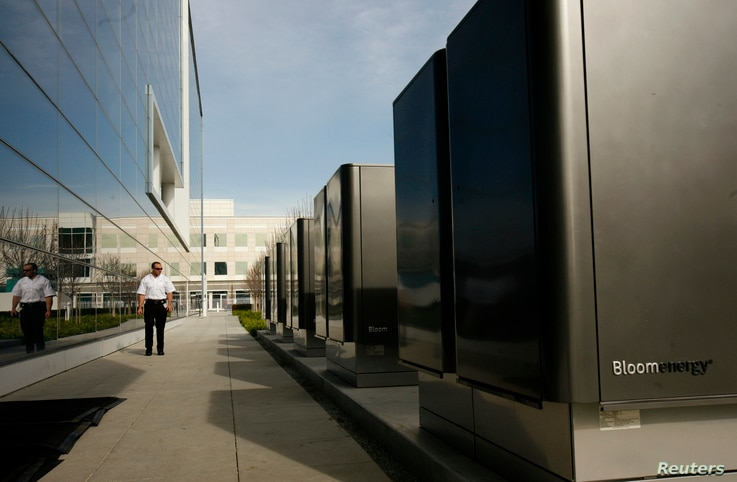 FILE - A bank of servers from Silicon Valley's Bloom Energy are shown at the headquarters of eBay in San Jose, Calif.