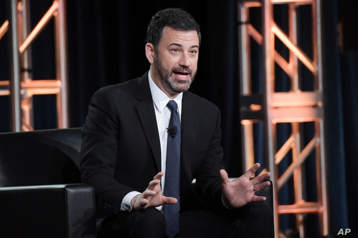 """Jimmy Kimmel participates in the """"Jimmy Kimmel Live and 90th Oscars"""" panel during the Disney/ABC Television Critics Association Winter Press Tour, Jan. 8, 2018, in Pasadena, Calif."""