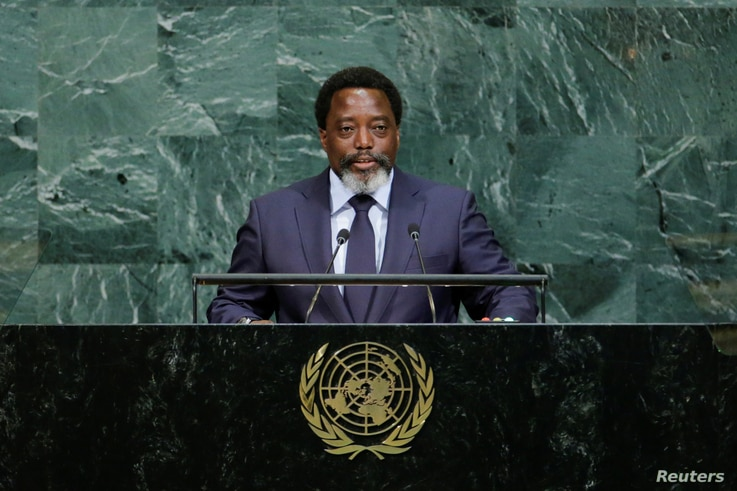 Joseph Kabila, president of the Democratic Republic of the Congo, addresses the 72nd General Assembly at U.N. headquarters in New York, Sept. 23, 2017.