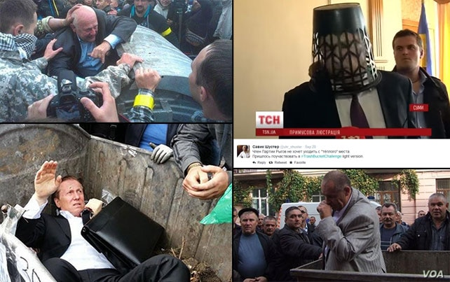 A collection of images posted to social media of Ukrainian politicians being into trash bins or having trash dumped on them.