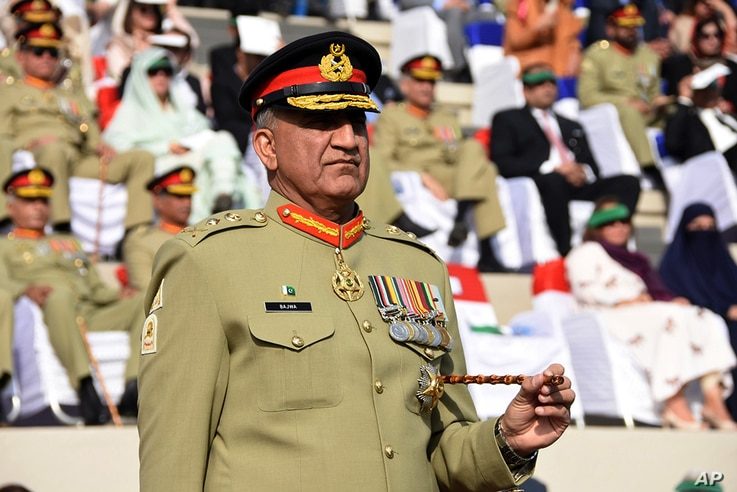 """Pakistani Army Chief Gen. Qamar Javed Bajwa, seen in this Nov. 2016 photo, told Afghan President Ashraf Ghani on Sunday that his troops have eliminated """"all safe havens"""" of terrorists on Pakistani soil."""