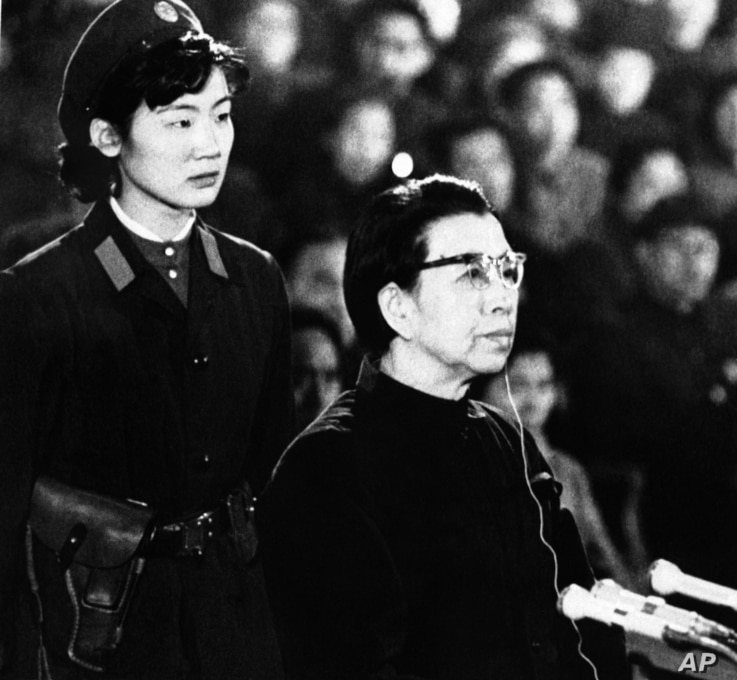 Jiang Qing, defiant widow of Chairman Mao Tse-tung, appears before session of the special tribunal of the Supreme People's Court in Peking on Friday, Dec. 5, 1980.