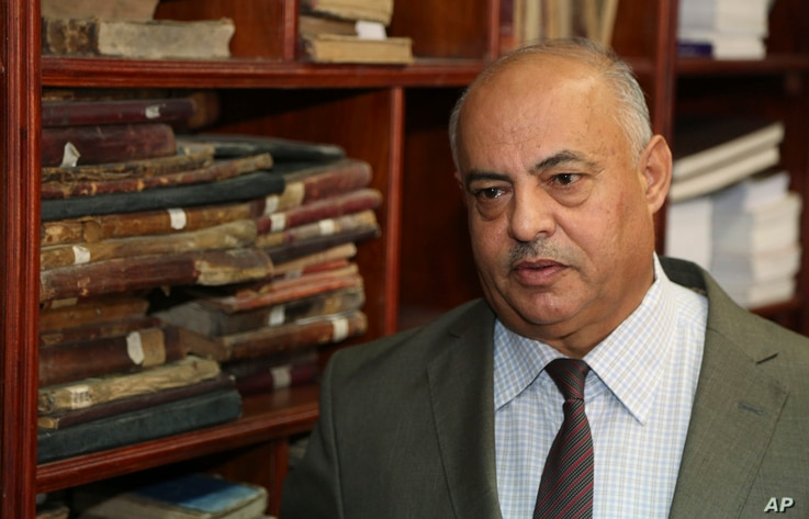 Jamal Abdel-Majeed Abdulkareem, acting director of Baghdad libraries and archives at the Baghdad National Library in Iraq, July 28, 2015.