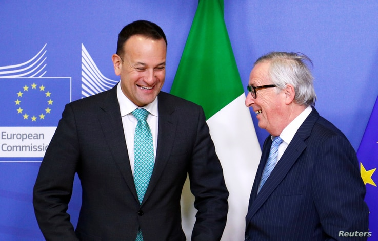 FILE - EU Commission President Jean-Claude Juncker and Irish Prime Minister Leo Varadkar meet in Brussels, Belgium, Feb. 6, 2019.
