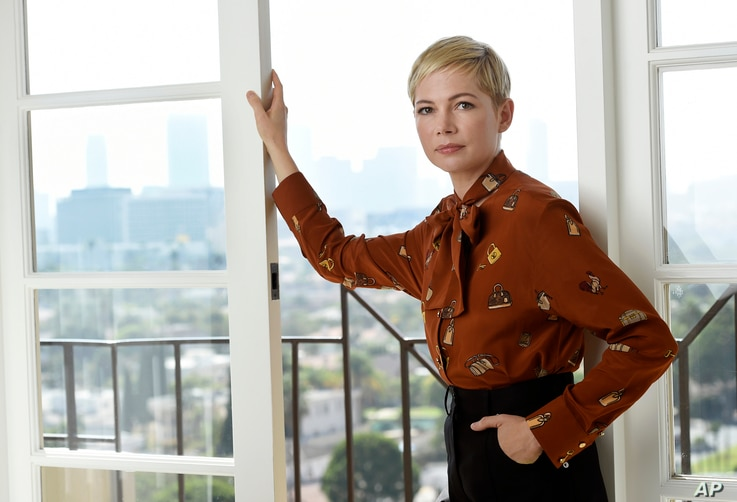 """This Sept. 27, 2018, photo shows Michelle Williams, a cast member in the film """"Venom,"""" at the Four Seasons Hotel in Los Angeles."""