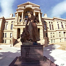Commanding a prominent position in front of the State Capitol, a statue of Esther Hobart Morris stands outside the capitol building in downtown Cheyenne, Wyoming (File)