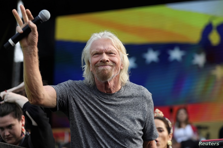 "Sir Richard Branson attends the ""Venezuela Aid Live"" concert near the Tienditas cross-border bridge between Colombia and Venezuela, in Cucuta, Colombia, Feb. 22, 2019."