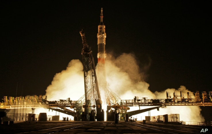 The Soyuz-FG rocket booster with Soyuz MS-03 space ship carrying a new crew to the International Space Station blasts off at the Russian-leased Baikonur cosmodrome, Kazakhstan, Nov. 18, 2016.