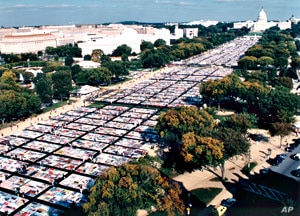 The AIDS Memorial Quilt was displayed in its entirety for the last time in 1996, Washington, DC