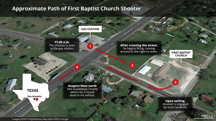 Map of Texas church shooters movements
