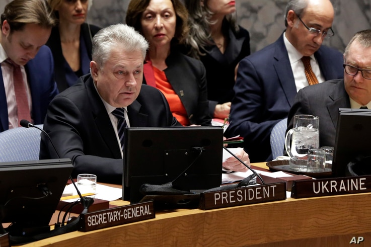 Ukraine's UN Ambassador Volodymyr Yelchenko addresses the body during a meeting at the United Nations, Feb. 2, 2017.