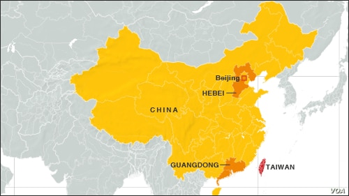 Hebei and Guangdong provinces, China