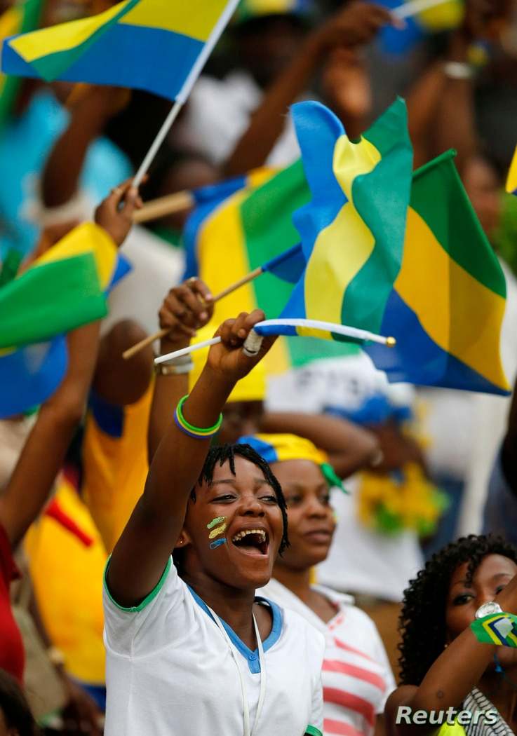 Gabon fans cheer during their Group A match against Equatorial Guinea at the 2015 African Cup of Nations in Bata, Jan. 25, 2015.