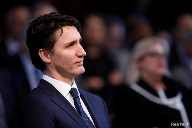Canada's Prime Minister Justin Trudeau attends an official ceremony marking the appointment of Richard Wagner as Chief Justice of the Supreme Court of Canada in Ottawa, Ontario, Canada, Feb. 5, 2018.