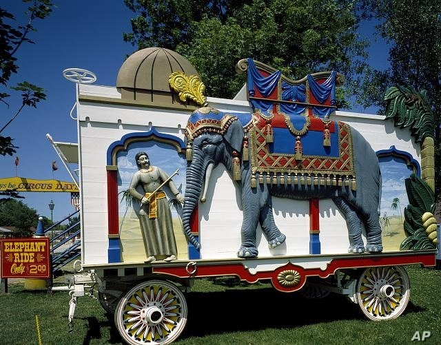 Circus wagons, such as this elaborately decorated depiction of an elephant at Circus World in Wisconsin, advertised not only the circus but also rides atop the mighty beasts. (Carol M. Highsmith)