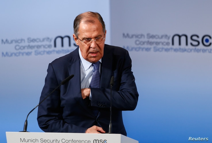 Russia's Foreign Minister Sergei Lavrov walks before delivering his speech during the Munich Security Conference in Munich, Germany, Feb. 18, 2017.