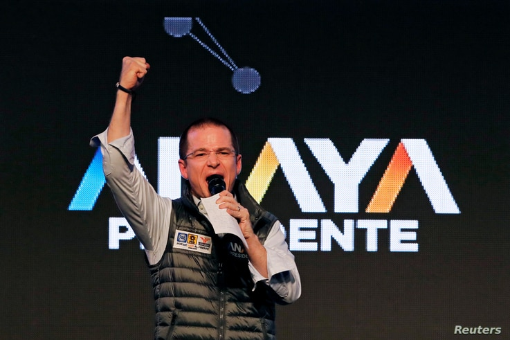 Ricardo Anaya, presidential candidate for the National Action Party (PAN) delivers a speech to supporters during his kick-off presidential campaign in Mexico City, March 30, 2018.