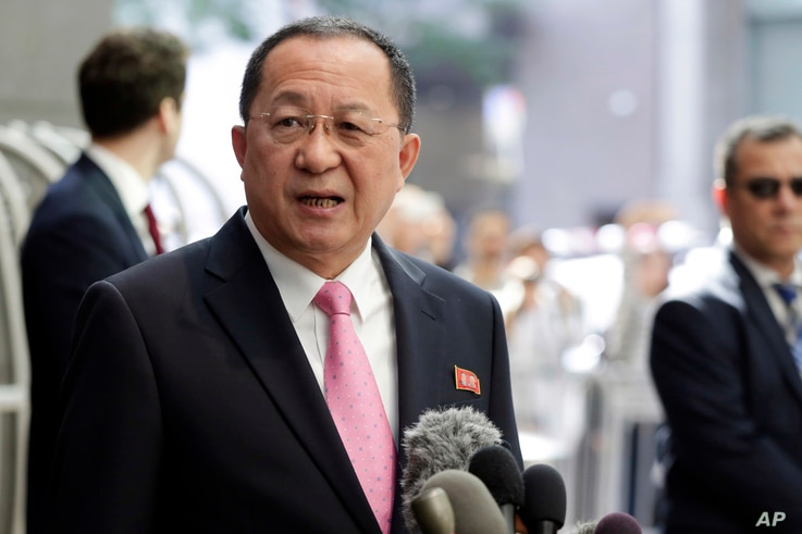 North Korea's Foreign Minister Ri Yong Ho speaks outside the U.N. Plaza Hotel, in New York, Sept. 25, 2017.
