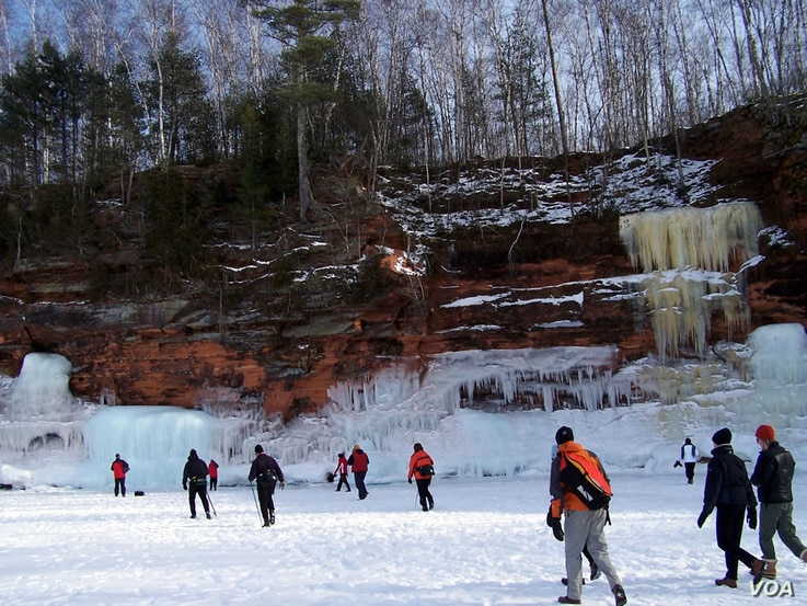 During some winters, Lake Superior and the sea caves at Wisconsin's Apostle Islands National Lakeshore freeze over, giving visitors a unique opportunity to do some ice climbing.