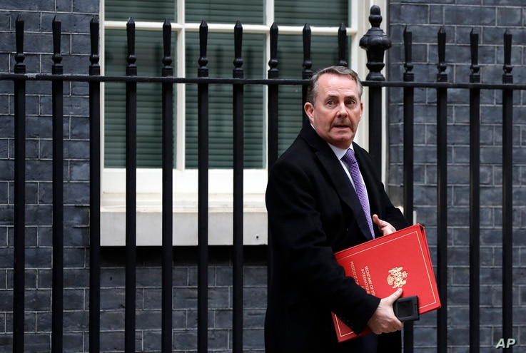 Britain's Secretary of State for International Trade Liam Fox leaves a Cabinet meeting at Downing Street in London, Jan. 15, 2019.