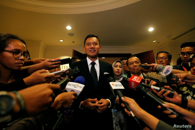Agus Harimurti Yudhoyono, candidate for Jakarta governor and son of former Indonesia president Susilo Bambang Yudhoyono, speaks to the media after a meeting in Jakarta, Indonesia, Feb. 1, 2017.