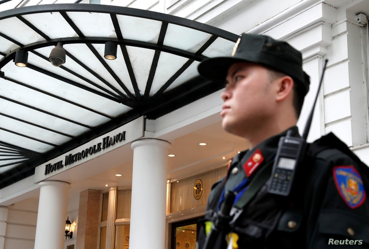 A police officer stands outside the Metropole Hanoi hotel ahead of the North Korea-U.S. summit in Hanoi, Vietnam, Feb. 25, 2019.