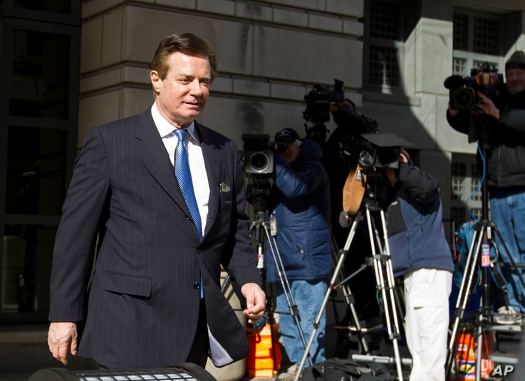 Paul Manafort, President Donald Trump's former campaign chairman, leaves the federal courthouse after his hearing in Washington, Feb. 28, 2018.