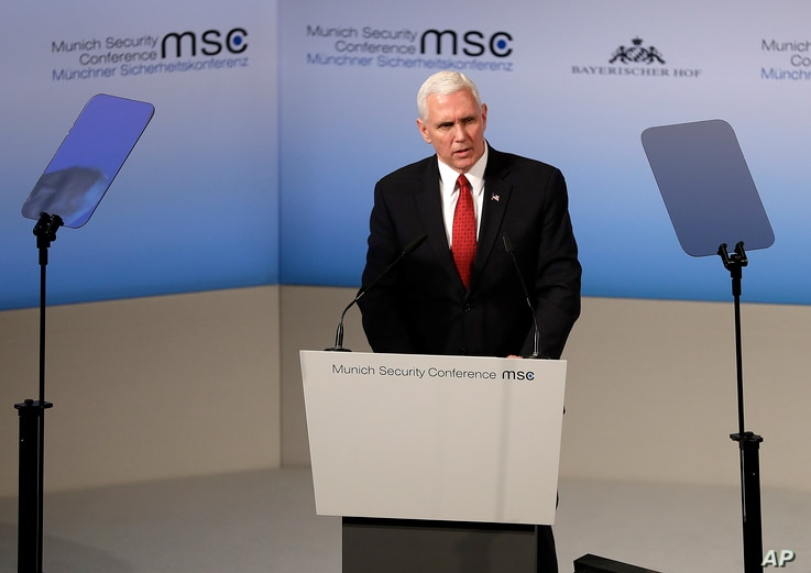 United States Vice President Mike Pence speaks during the Munich Security Conference in Munich, Germany, Feb. 18, 2017. The annual weekend gathering is known for providing an open and informal platform to meet in close quarters.
