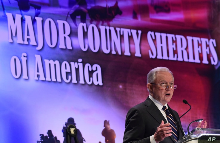 Attorney General Jeff Sessions speaks about violent crime and opioids at the Major County Sheriffs of America 2018 Winter Conference in Washington, Feb. 15, 2018.