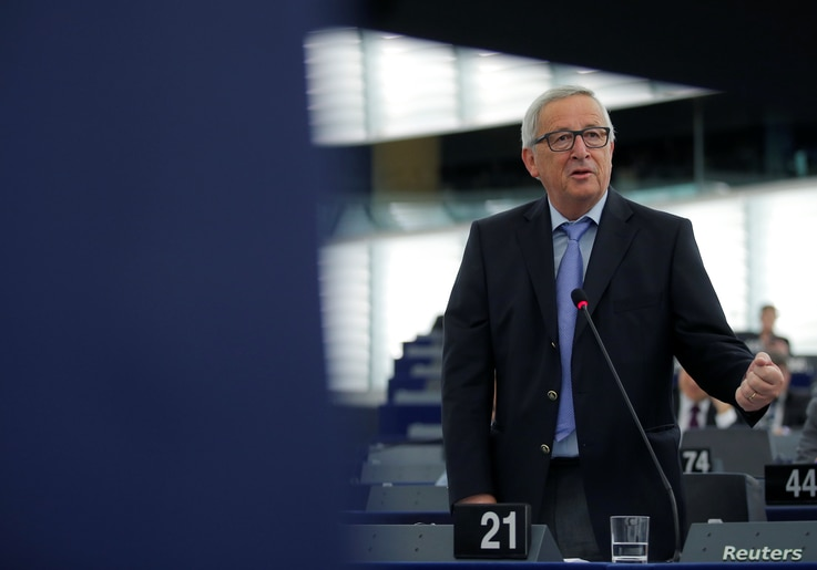 """FILE - European Commission President Jean-Claude Juncker delivers a speech during a debate on the future of Europe at the European Parliament in Strasbourg, France, May 30, 2018. Juncker on May 31 called U.S. tariffs on steel and aluminum imports """"un"""