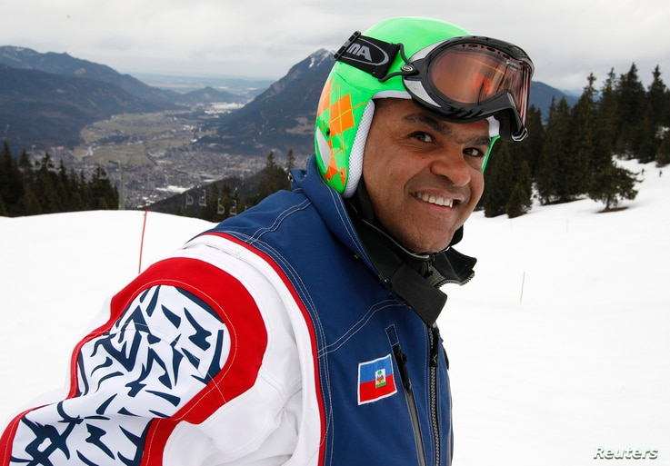 Haitian skier Jean-Pierre Roy smiles as he poses during a training session at the World Alpine skiing Championships in Garmisch Partenkirchen Feb. 11, 2011.