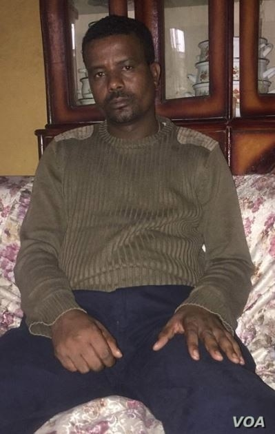 Kefyalew Tefera, at his sister's home in Addis Ababa, Ethiopia, says he wants to 'see the rule of law prevail in Ethiopia.' (Photo courtesy of Name Seriomo)