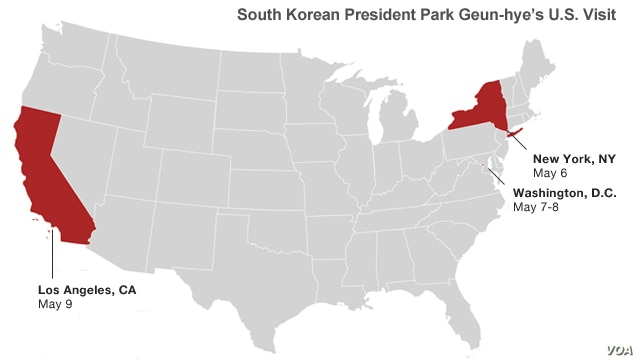 The president of South Korea's stops on this visit to the United States.