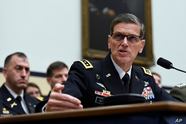 FILE - Gen. Joseph Votel, head of U.S. Central Command, testifies before the House Armed Services Committee on Capitol Hill in Washington, March 7, 2019.