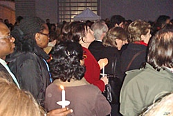 UN staffers at candlelight vigil honoring UN victims from Haiti's earthquake, 19 Jan 2010