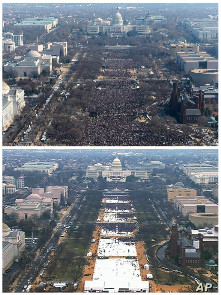 FILE- A pair of photos shows a view of the crowd on the National Mall at the inaugurations of President Barack Obama, above, on Jan. 20, 2009, and President Donald Trump, below, on Jan. 20, 2017.