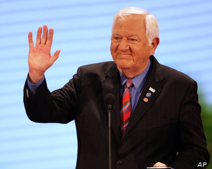 Retired U.S. Marine Corps Col. Orson Swindle, a former POW who shared a cell for a time with John McCain in Vietnam, speaks at the Republican National Convention in St. Paul, Minn., Sept. 2, 2008.
