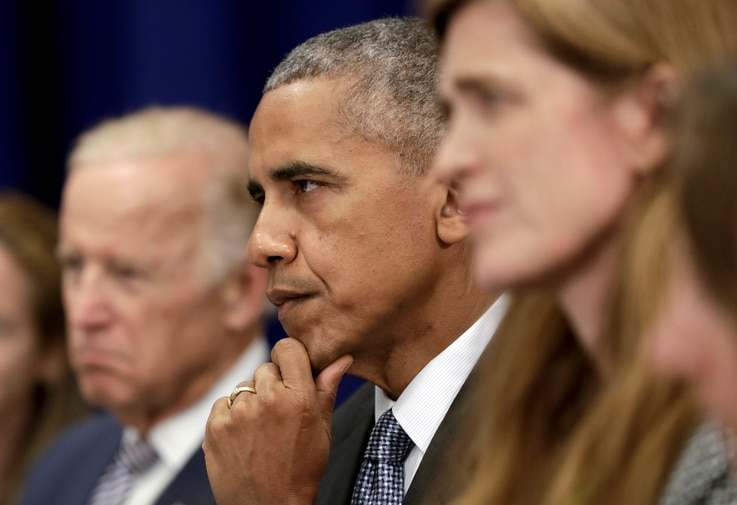 President Barack Obama, center, joined by Vice President Joe Biden, left, and United States United Nations Ambassador Samantha Power, right, looks to Iraqi Prime Minister Haider al-Abadi as he speaks to media during a bilateral meeting at the Lotte N