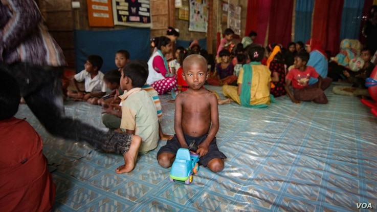Children at a care center set up near to the Rohingya camps and run by an NGO called Action Against Hunger. (J.Owens/VOA)