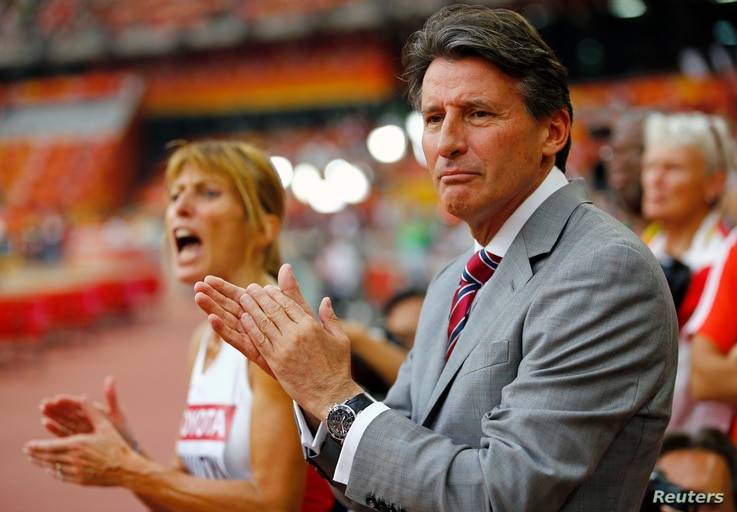 FILE: IAAF President Sebastian Coe says Russia 'must demonstrate verifiable change' before its athletes can compete internationally. He's shown at the organization's World Championships in Beijing, Aug. 29, 2015.